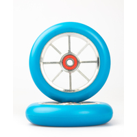 8 Spoke 110mm Wheels - Silver Core with Blue PU (pair)